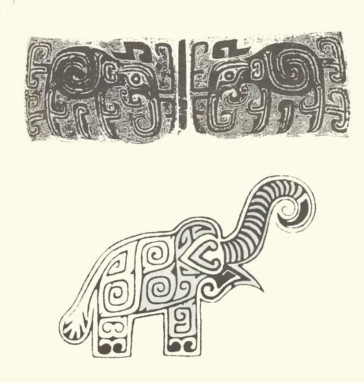 还有许多较为写实的动物纹饰,如象,虎,鱼,鹿等等.